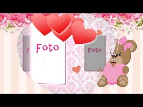 Convite Animado Ursa Marrom e Rosa