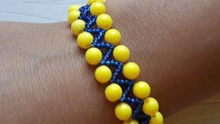 Браслет из бусин для начинающих/Bracelet beads for beginners