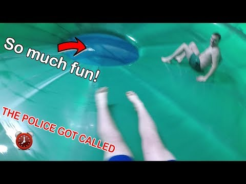 WE ALMOST ESCAPED FROM THE POLICE! OVERNIGHT IN WATERPARK