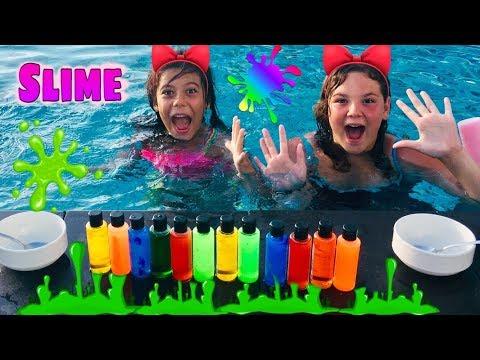 Derin Havuzda Slime Challenge. Havuzda Kim Battı. Deep In The Pool Slime. Fuuny Videos