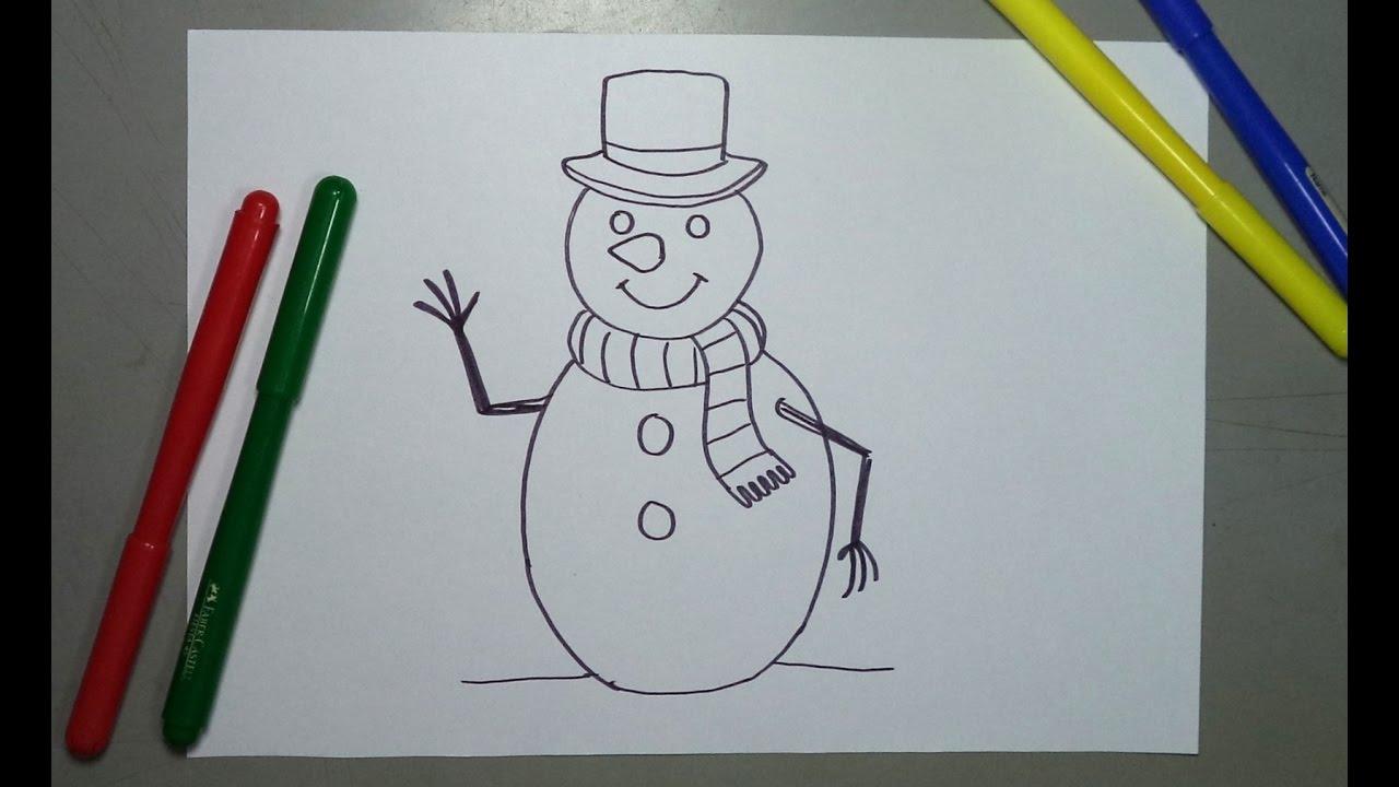 C mo dibujar paso a paso un mu eco de nieve para navidad - Munecos de nieve para dibujar ...