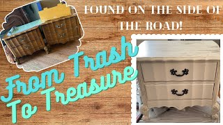 FROM TRASH TO TREASURE! NIGHTSTAND TRANSFORMATION! FREE OLD NIGHTSTANDS TO BEAUTIFUL FURNITURE