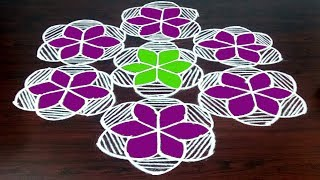 Latest Geethla Muggulu With 11 x 6 Dots Easy ||  Daily Colours Lines Rangoli  || Fashion World