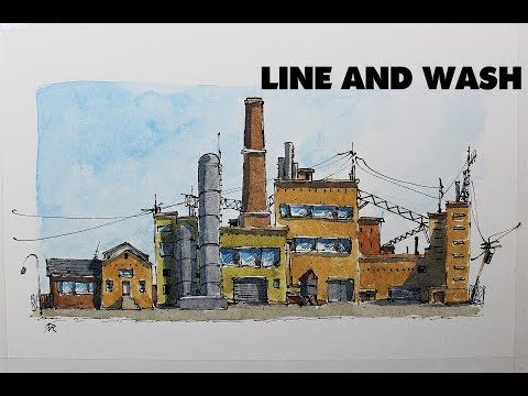 Line and Wash Industry building in Easy watercolor By Nil Rocha