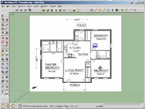Et365 2d door cut into floorplan walls youtube for How to design a floor plan in sketchup
