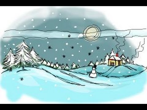 how to draw a winter scene youtube