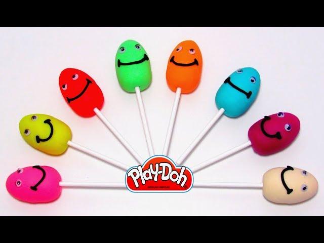 Играем и учим цвета на английском языке с Play-Doh чупа чупсами яйцами и формочками животными.