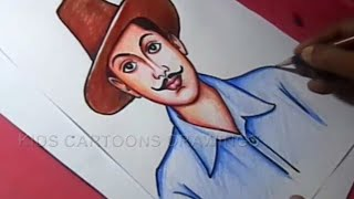 How to Draw Sardar Bhagat Singh Drawing for kids Step By Step for Kids