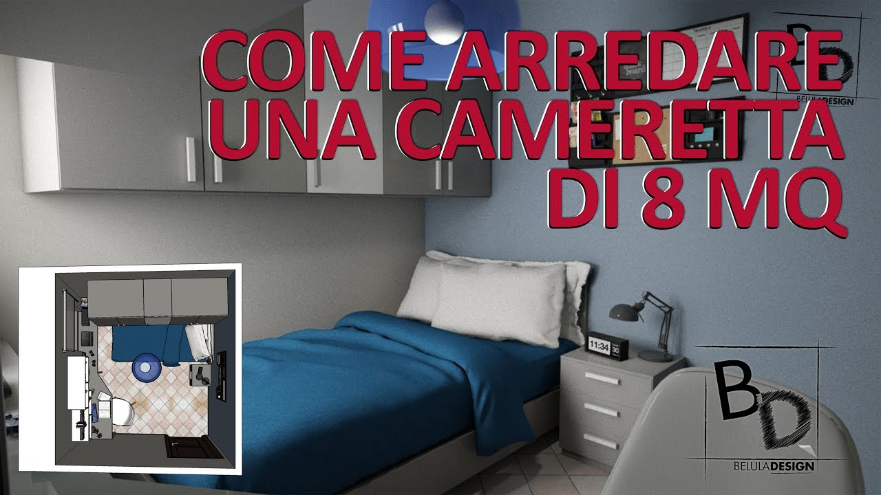 Come arredare una cameretta di 8 mq belula design youtube for Arredare cameretta