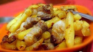 Жареная картошка на сале  Украинская кухня