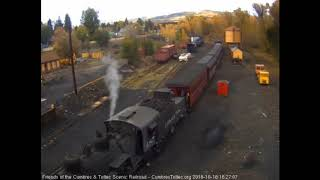 10/16/2018 Eight car train 215 arrives in Chama, NM