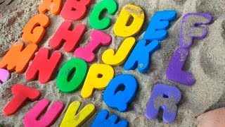 ABC song. Abc on the sand. Educational baby toddler kindergarten kids children. Learn the alphabet.