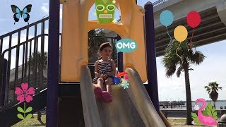 Outdoor Playground Fun For Children With Slides. Fun with Bella.