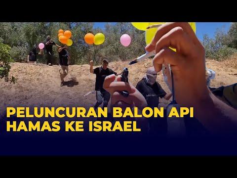 Visual Peluncuran Balon Api Hamas ke Wilayah Israel