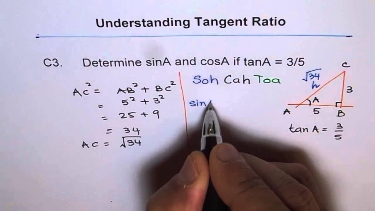 Find Sine cosine Given tan ratio C8