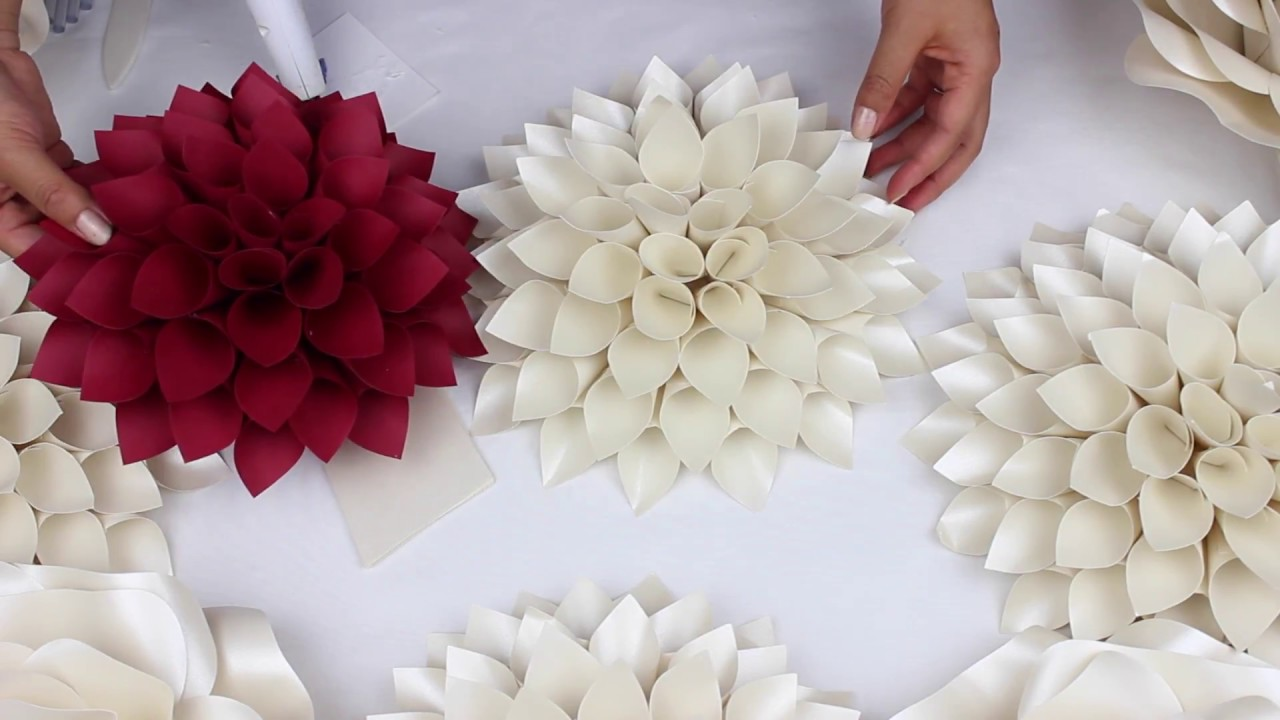 Diy Paper Dahlia Tutorial My Wedding Backdrop Flowers Youtube