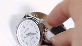 Produktvideo zu Sprechende Funk-Armbanduhr für Damen mit Lederarmband Solar White