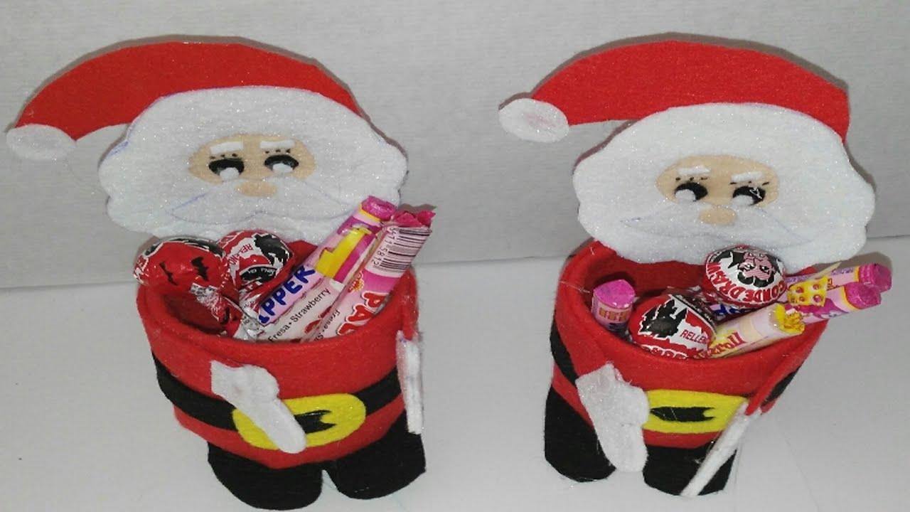 Como hacer dulcero de papa noel con botellas de plastico - Como realizar adornos navidenos ...