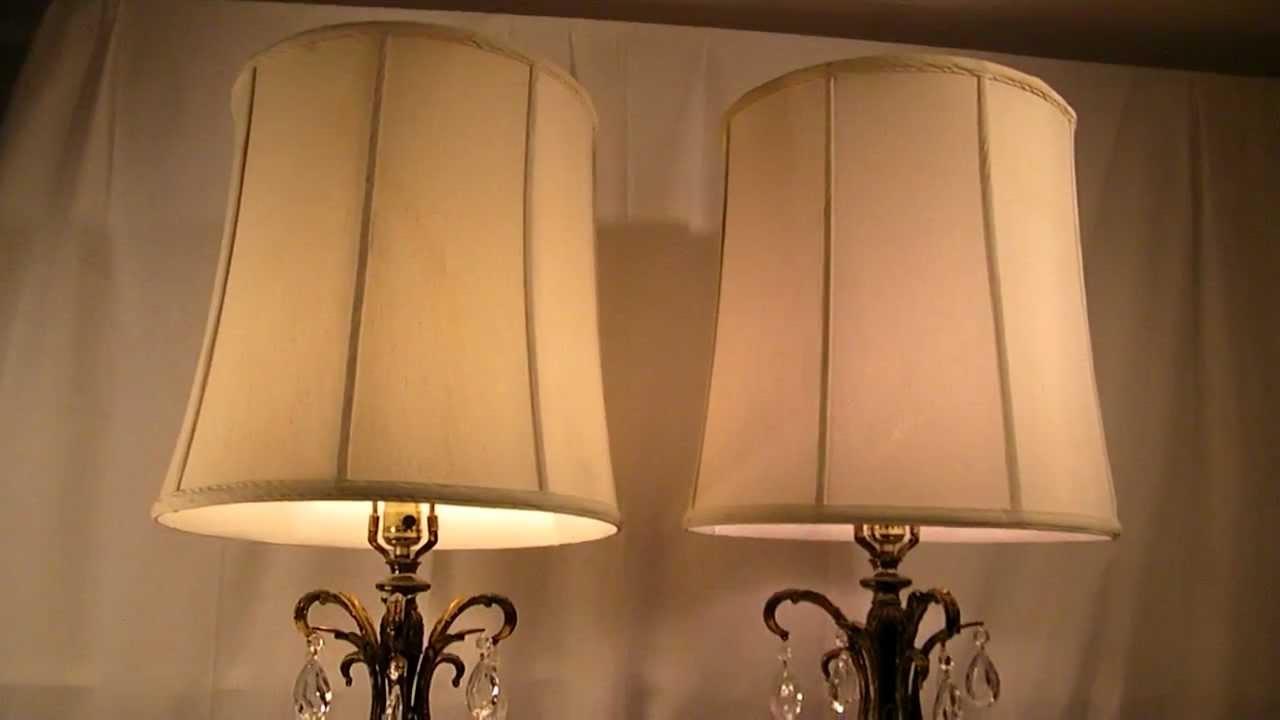 Vintage pair retro hollywood regency crystal flower gantique old vintage pair retro hollywood regency crystal flower gantique old lamps w shades aloadofball Gallery