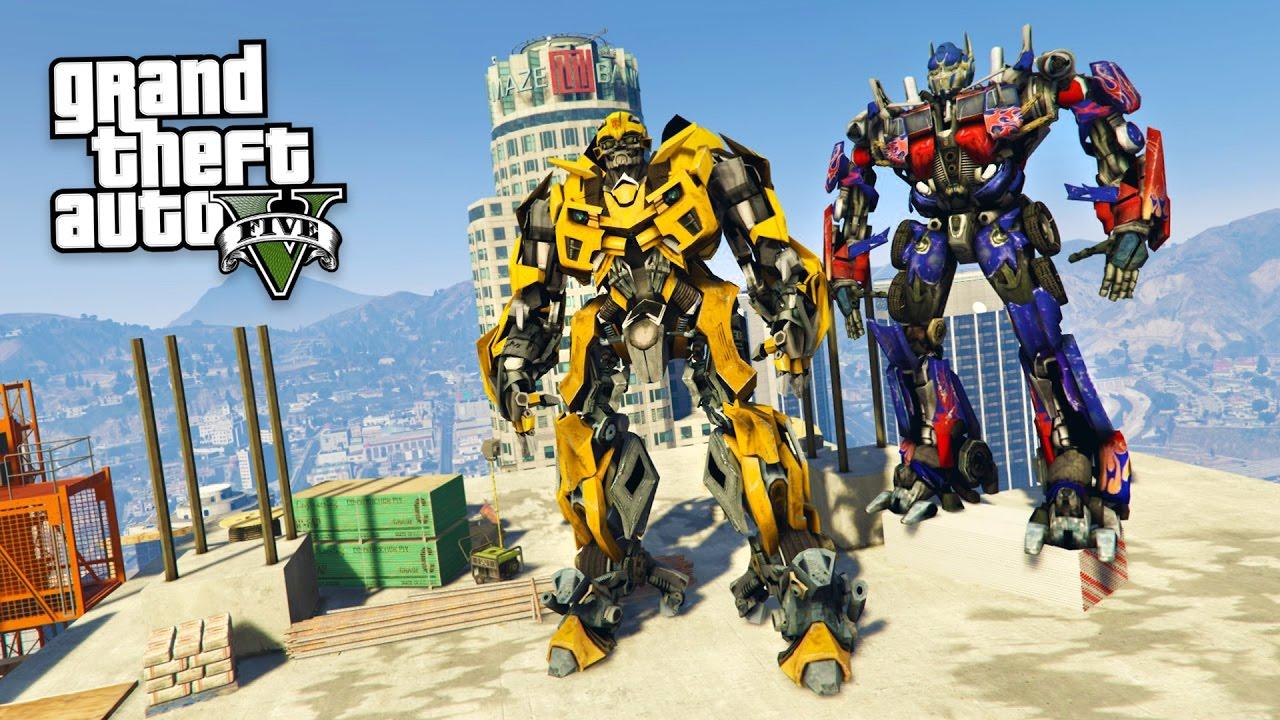 transformers bumblebee & optimus prime!! (gta 5 mods) - youtube