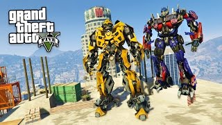 TRANSFORMERS BUMBLEBEE & OPTIMUS PRIME!! (GTA 5 Mods)(Transformers GTA 5 mod with Bumblebee and Optimus Prime! GTA 5 Transformers mod! ▻ Subscribe for more daily, top notch videos! ▻ http://bit.ly/SubToTG ..., 2016-12-31T03:16:55.000Z)