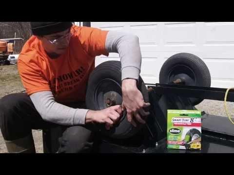 Utility Trailer  Inner Tube Install Wheelbarrow
