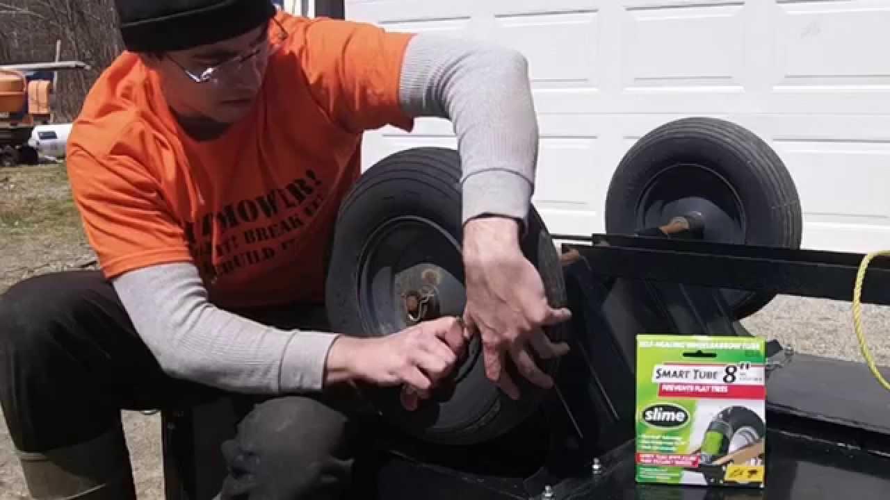 Utility Trailer Inner Tube Install Wheelbarrow Youtube