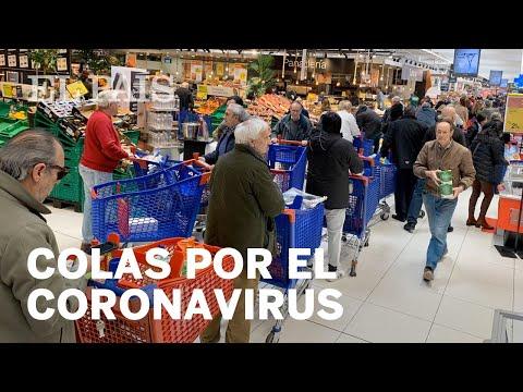 #CORONAVIRUS | Colas y estantes vacíos en un SUPERMERCADO de MADRID