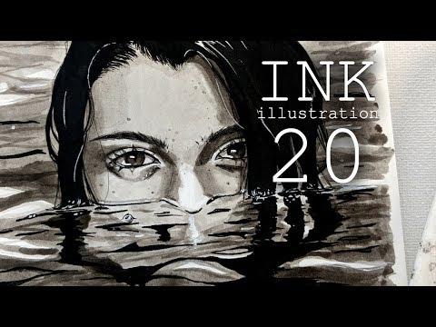 Dark Mermaid Illustration // Fineliner & Ink Painting Process