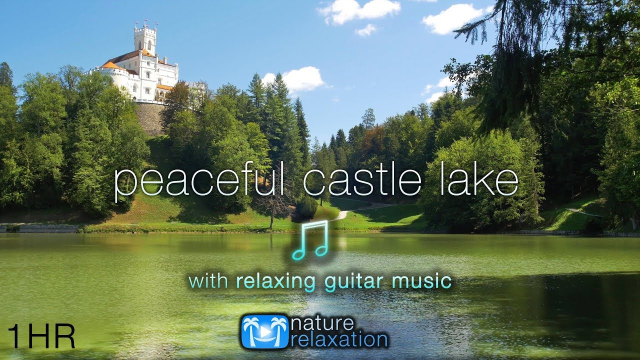 Peaceful Castle Lake w/ Calming Acoustic Guitar Music + Bird Sounds | 1HR 4K Nature Relaxation Film