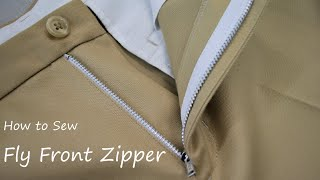 How to sew a Fly Front Zipper on Trousers Pants tutorial フロントファスナーの付け方・縫い方 縫製工場の洋裁教室