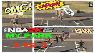 NBA 2K15 My Park Mode Gameplay - 3 VS 3  | Sunset Beach Ballers | POSTER DUNK!!! | PS4 Thumbnail