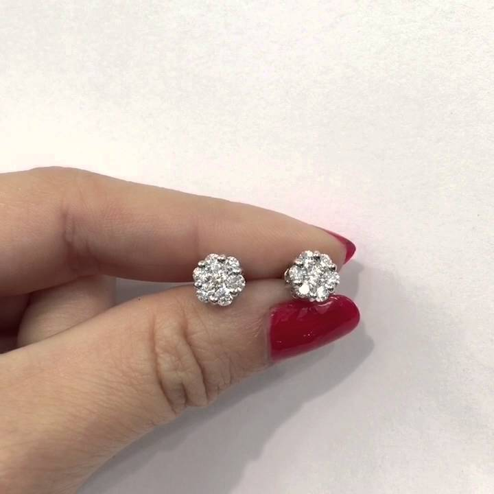 1 10 Ct Round Brilliant Cut Diamond Invisible Set Flower Stud Earrings 14k Gold