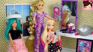 Barbie Rapunzel Hair Style Salon Queen Elsa Doll Hair Wash, Hair Cut in Beauty Salon Shop