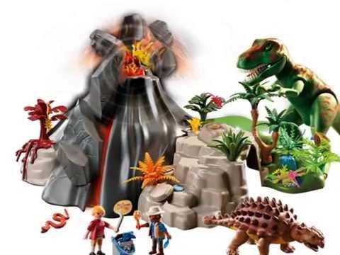 Playmobil dinosaurios volc n con tiranosaurius 5230 youtube for Playmobil dinosaurios