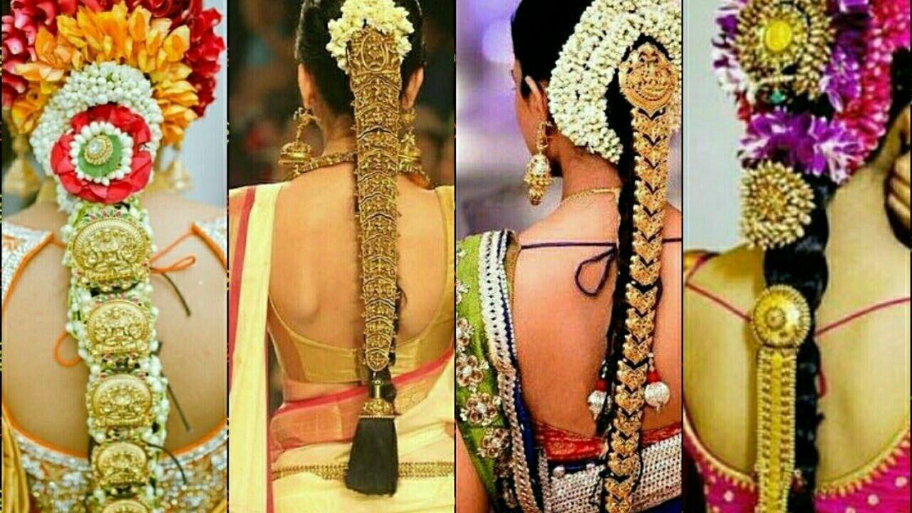 gold antique jadai ll indian wedding hair accessories || wedding flower  jadai jewellery ||