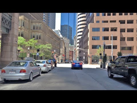 Driving Downtown - Financial District - Boston Massachusetts USA