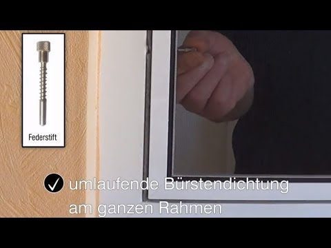 insetto insektenschutzrahmen flairline f r fenster mit federstifte youtube. Black Bedroom Furniture Sets. Home Design Ideas