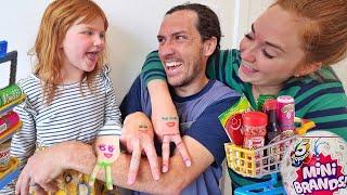 Family HANDS Neighborhood!!  Adley creates a tiny town! mini mart shop, house, beach, park and more!