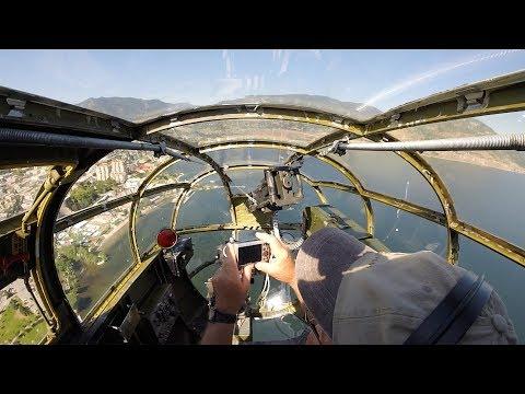 B-25 Mitchell flight in NOSE GUNNER seat