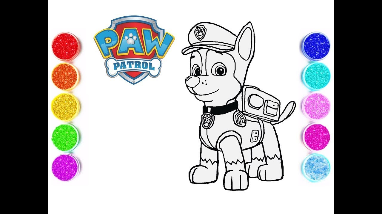 Paw Patrol Chase Coloring Pages How To Drawing And Coloring Chase Paw Patrol Vianna Kids Show Youtube
