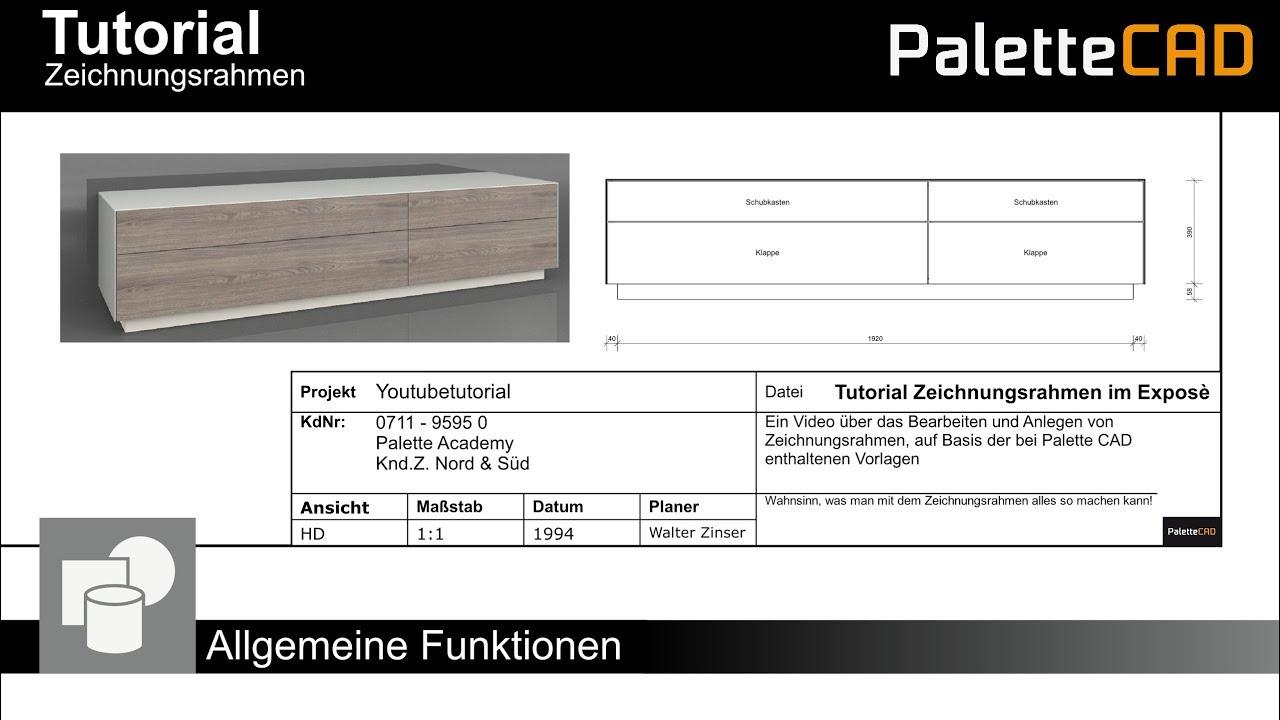 Palette CAD 9 Tutorial - Zeichnungsrahmen - YouTube