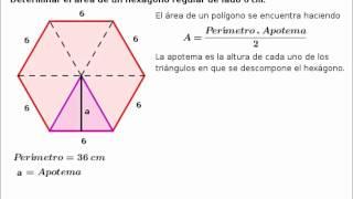 Área de un polígono regular: hexágono (encontrar la apotema)