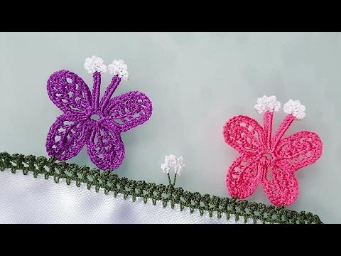 Dalda İki Kelebek Tığ Oyası Modeli Yapılışı Videolu Anlatımlı