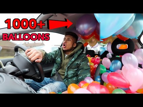 Driving A BALLOON FILLED CAR CHALLENGE!! (1000+ BALLOONS)