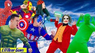 LTT Nerf Guns: Spiderman X-Shot Nerf Guns Fight Against Criminal Group Joker & Green Man Funny War