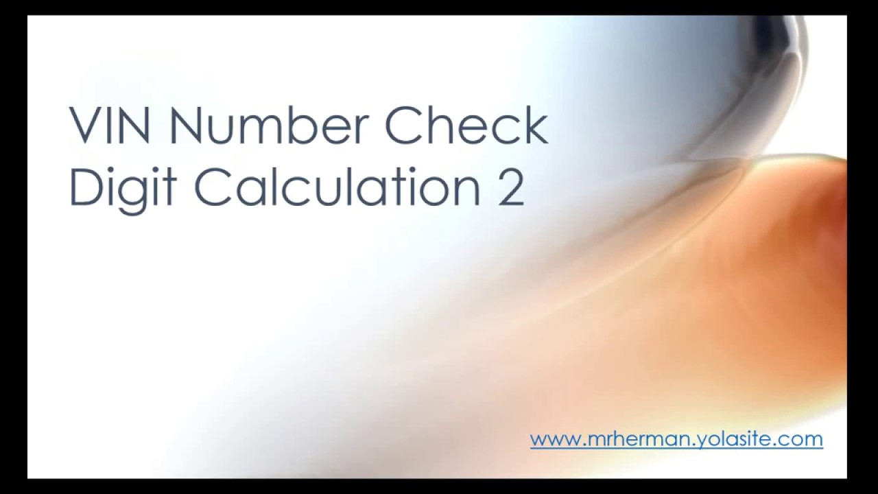 VIN number check digit 2 - YouTube
