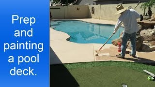 Painting pool deck.