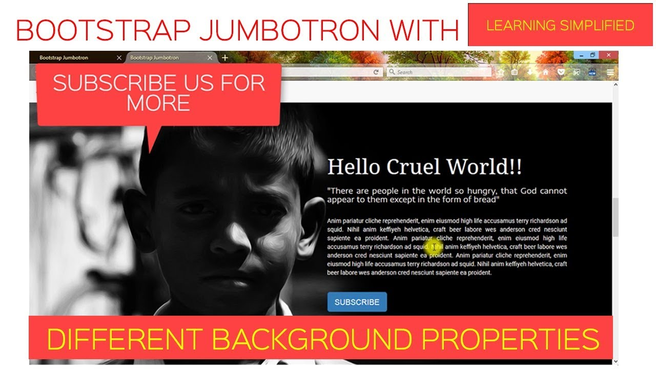 How To Set Image In Jumbotron Using Bootstrap And Css Youtube