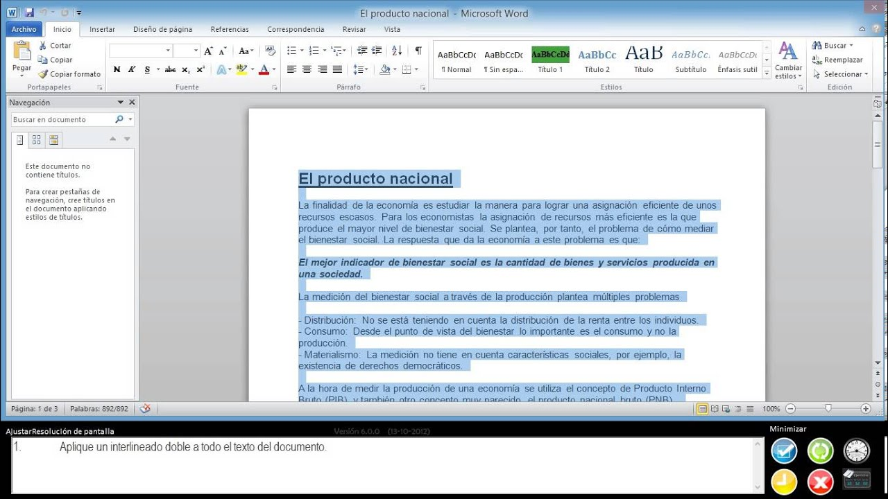 Aplique un interlineado doble a todo el texto del for En word cual es el interlineado